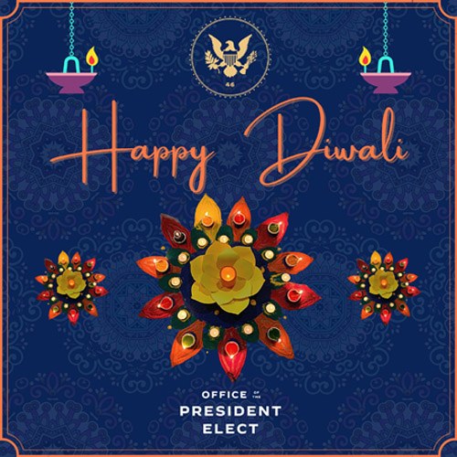 الرئيس الامريكي جو بايدن يهنيء الهنود